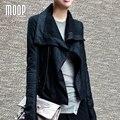 Mulheres casaco de pele de carneiro preto de couro genuíno fosco lapelas jaqueta de couro da motocicleta de grandes dimensões LT791 veste en cuir femme