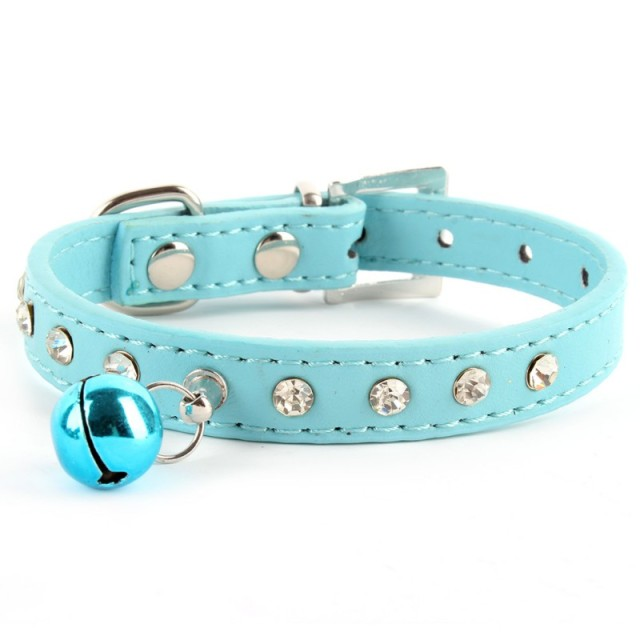 Crystal Studded Collar Soft Leather Cat Puppy Dog Collars Adjustable Bling Rhinestones Bell Collar Pet Products