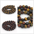 Free shipping Select by Size 6 8 10 12 14 16mm Red Yellow Mixed Tiger Eye Bead - For Jewelry Making DIY