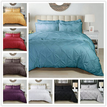 Pure color Duvet Cover simple fashion style black white gray 2/3pcs Sets Soft Polyester Bed Linen Flat Pillowcase