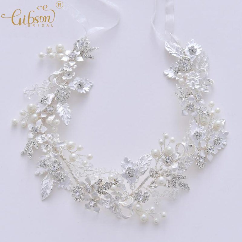 Bridal Tiara Hair Band Wedding Accessories Jewelry Headpiece Rhinestone Leaf Bridal Hair Vine Forehead Headband delicate rhinestone leaf link chain hair band for women