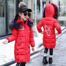цена на Baby Girl Winter Clothes Children's Color Fur Hooded Down Cotton Long Warm Jackets Costumes Kids Christmas Outerwear Parka Coats