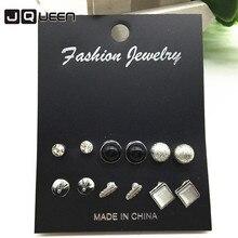Винтаж 6 пар корейский комплект серьги Для женщин квадратные Кристалл серьга для Для женщин Имитация жемчужной сережкой Модные украшения