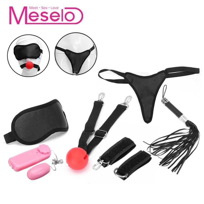 Buy Meselo 6pcs Sex Bondage Set Adult Games Vibrating Love Eggs Whip Gag Harness Bdsm Bondage Slave Game Sex Toys Couples