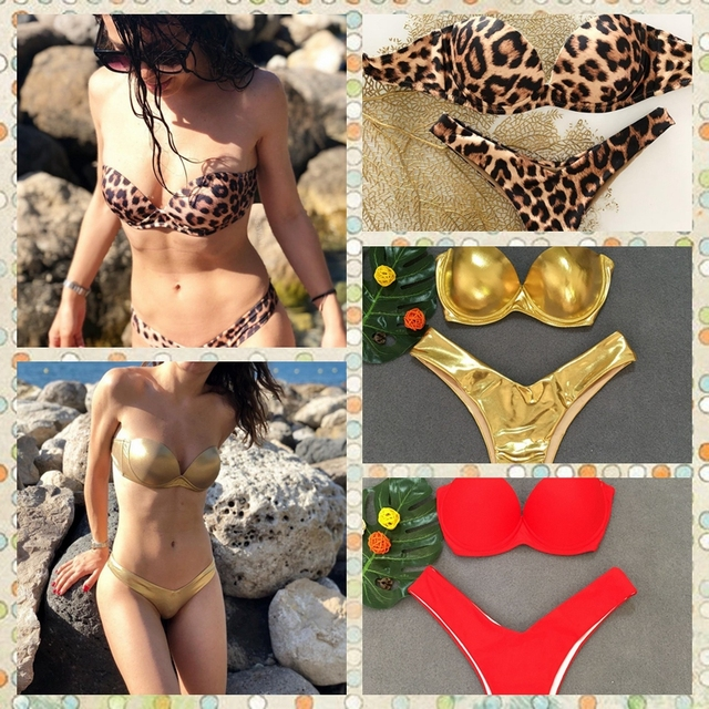 2018 new bandage swimsuit bikini swimsuit sexy leopard bikini Ms. Europe