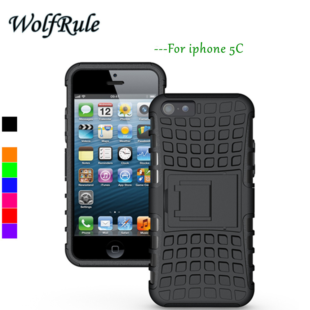 WolfRule For Case Apple iphone 5C Cover Soft Silicone + Hard Plastic Case For Apple iPhone 5C Case Holder