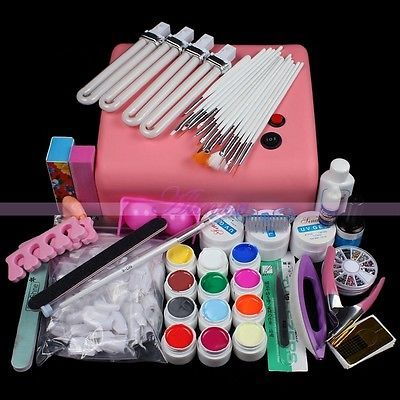 36W 220V UV Lamp Light Acrylic Pure 12 Pots UV Gel Nail Art Tips DIY Tools Manicure Sets 2015 New Arrival
