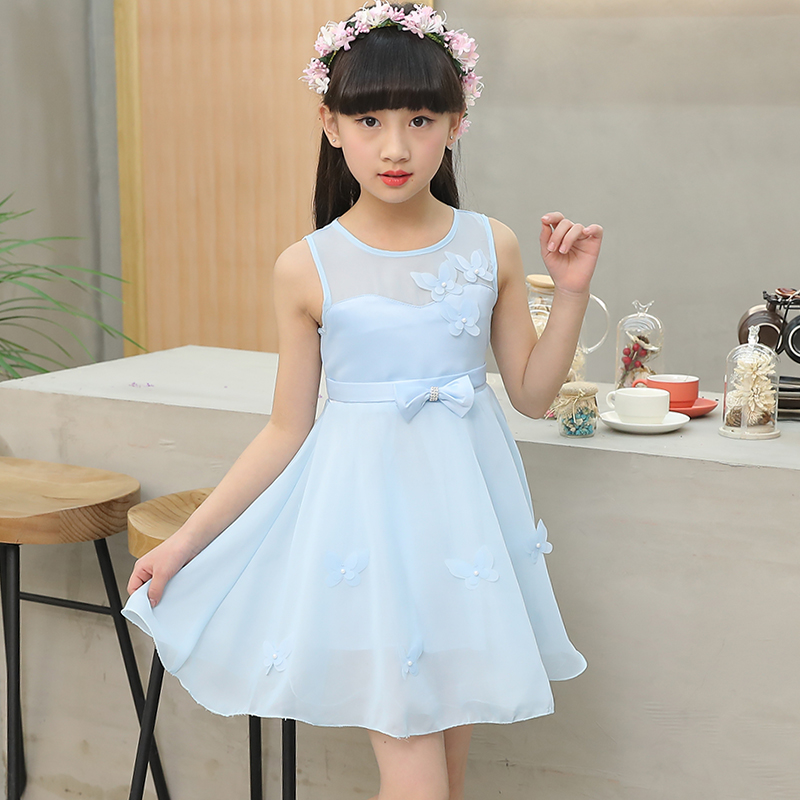 531ab9686a1f3 2017 Brand Girls Summer Flower Dress Kid Beautiful Sleeveless Bow Princess  Party Cute School Dress Kid Clothes Hot Sale-in Dresses from Mother & Kids  on ...