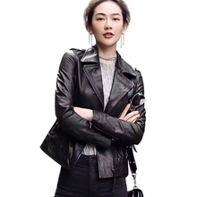 2018 Semi-vegetable leather Genuine Coat Formal Short Leather Outwear Leather Clothing Female Autumn Sheepskin Leather Jacket