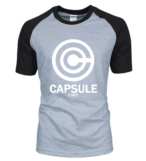New Arrival Anime DRAGON BALL Z men t shirt 2016 summer 100% cotton CAPSULE CORP. letters raglan men t-shirt for fans S-2XL