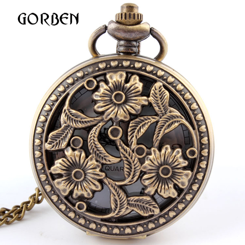 Antique Bronze Flower Pocket Watch Necklace Pendant With Chian Womens Gifts Pocket Fob Watches Relogio De Bolso