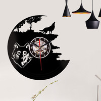 2019 Wolves Decorative Creative Style Non Ticking Silent Antique Rubber Wall Clock Decorative Home Living Room L523