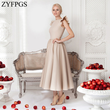 ZYFPGS 2019 Top Ladies Long Dress Solid Wavy Edge Womans Casual Sexy Fashion Slim Classic High Quality Sales Hot Z1231