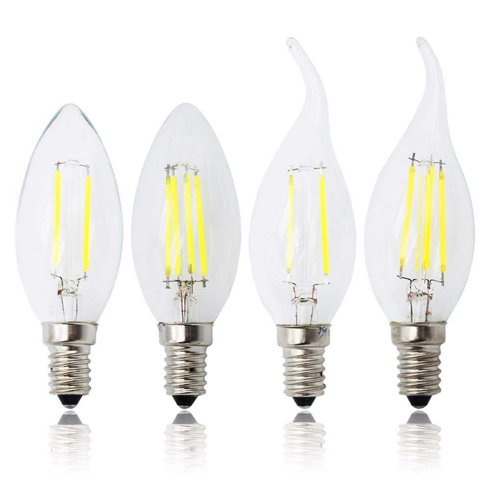Vintage Bulb Edison Lamp 2W 4W 6W LED E14 Candle Bulb 220V Dimmable LED Filament Light Glass Chandelier Lights