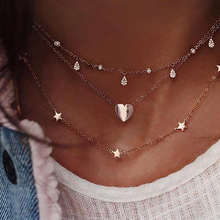 OLOEY New Fashion Womens Necklaces Retro Multi-Layer Heart-shaped Pendant Necklcae Ladies Jewelry Casual Chokers Chain Gifts