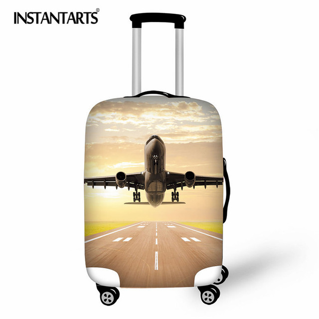 INSTANTARTS Aircraft Pattern Elastic Luggage Protective Cover Zipper Suit For 18-30 inch Trunk Case Travel Suitcase Covers Bags