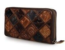 J.M.D Patchwork Genuine Leather Wallet Vintage Women Clutch Bag Card Case 8091 Three Design