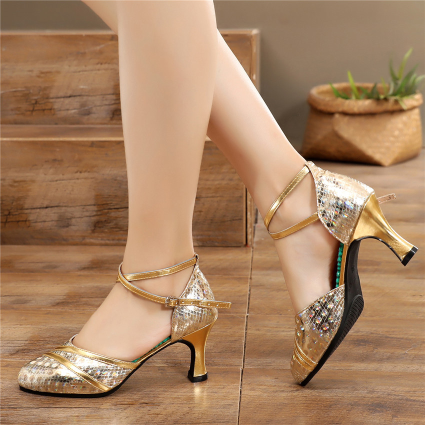 Jazz Dancing Shoes For Women Latin Dance Shoes Woman Salsa Ballroom Shoes Closed Toe Heels Zapatos Baile Latino Mujer 34 41