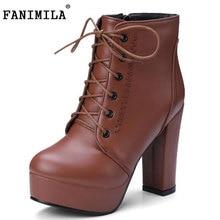Fanimila Размеры 34–43 стильная женская обувь на высоком каблуке Сапоги и ботинки для девочек Для женщин на платформе с перекрестными ремешками круглый носок толстый каблук загрузки модные, пикантные зимние сапоги