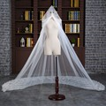 Hot Sale Elegant  Wedding Veil 4 Meters Appliques Beading Edge One-Layer  velos de novia voile mariage
