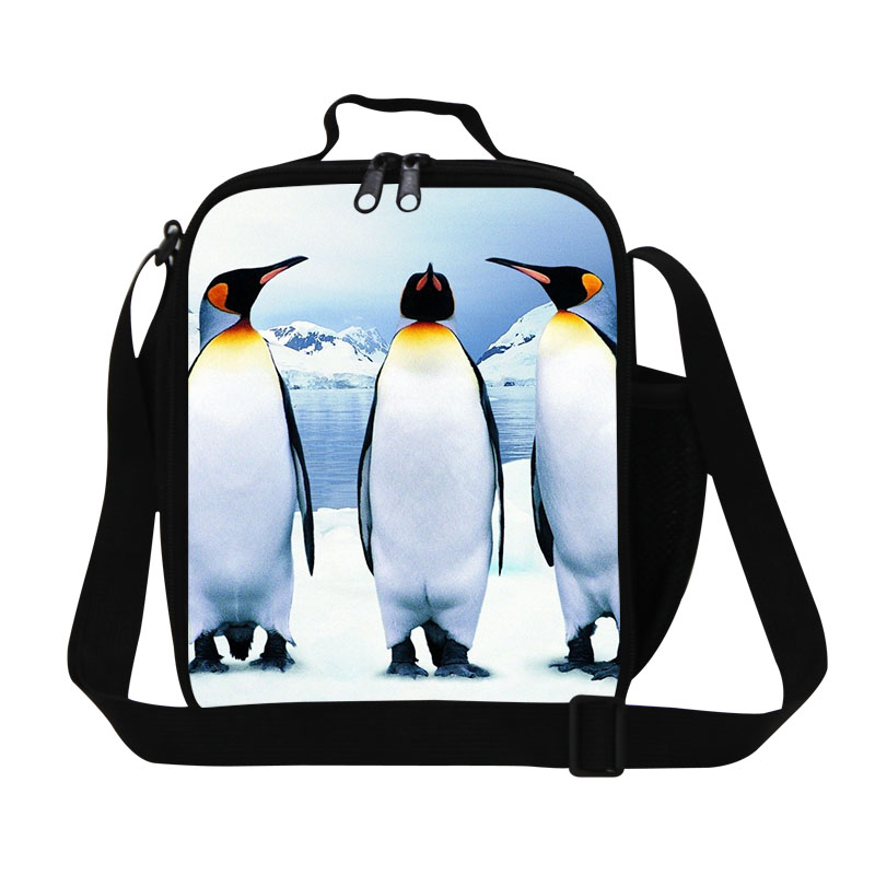 Preppy Style Insulated Crossbody Lunch Bag For Teenagers Penguin Pattern Kids Lunchbag Women Animal Thermal Food Bag Lunch Bolsa