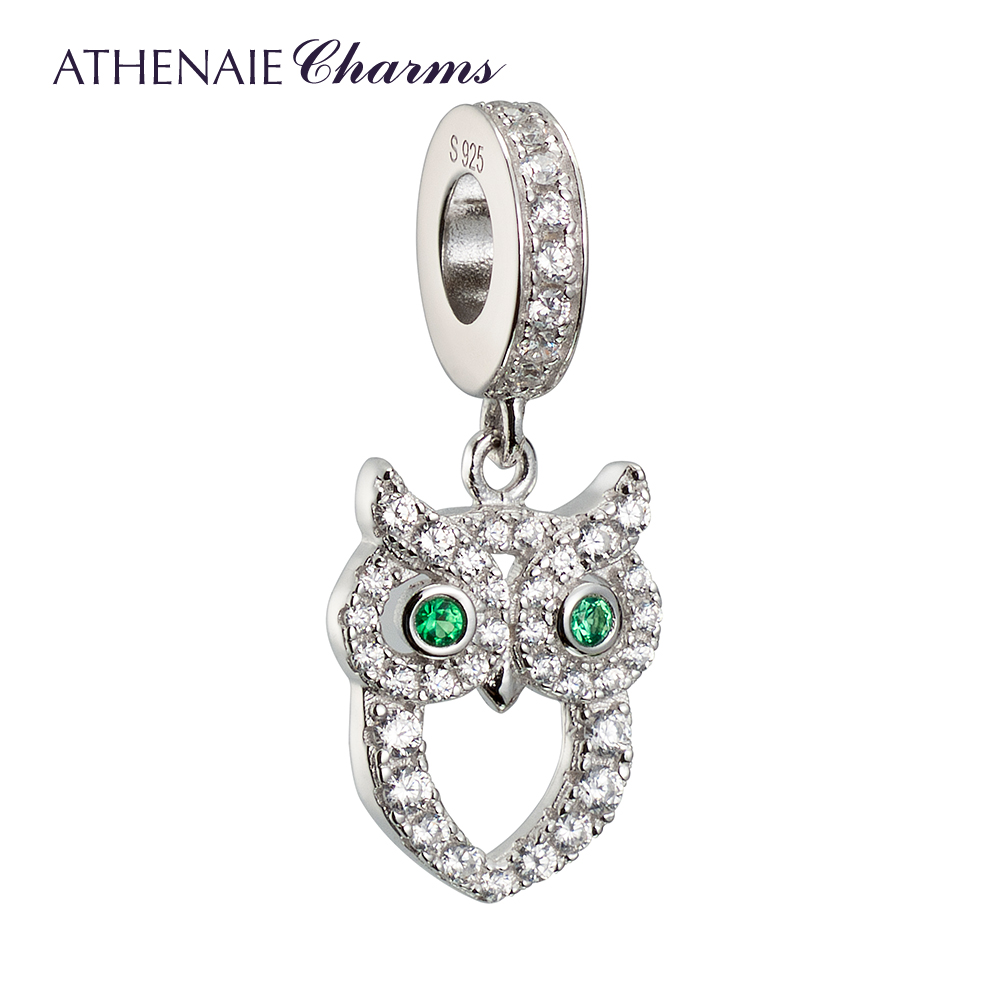 ATHENAIE 925 Silver with Pave Clear CZ Wisdom Owl of Minerva Pendant Drops Charms Fit All European Bracelets NecklaceATHENAIE 925 Silver with Pave Clear CZ Wisdom Owl of Minerva Pendant Drops Charms Fit All European Bracelets Necklace
