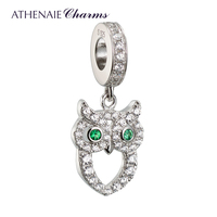 ATHENAIE 925 Silver with Pave Clear CZ Wisdom Owl of Minerva Pendant Drops Charms Fit All European Bracelets Necklace