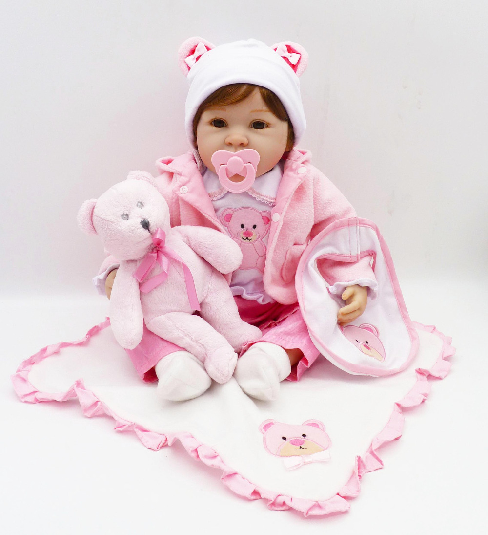 NPK 22 inch vinyl baby doll toy silicone babies dolls 56 cm silicone reborn real dolls toys for girls kids New Year's toys gifts 18 inch dolls handmade bjd doll reborn babies toys for girls 45cm jointed plastic toy dolls for wedding valentine s day gifts