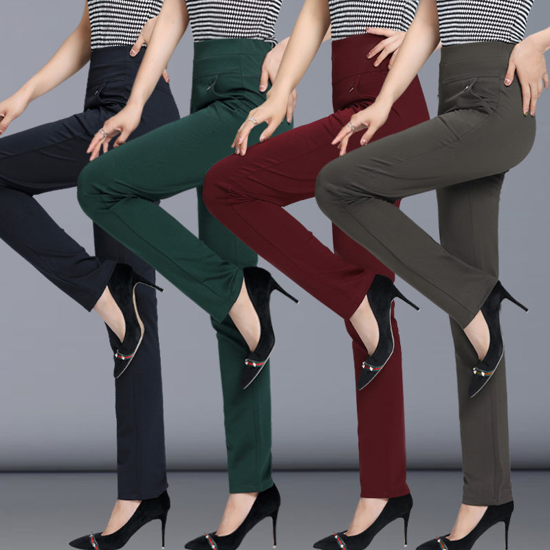 Women Pants 2020 Spring Fall Straight Pants Slim Casual Female Stretch Trousers Black Fashion Jeans Office Trousers 4XL 6xL