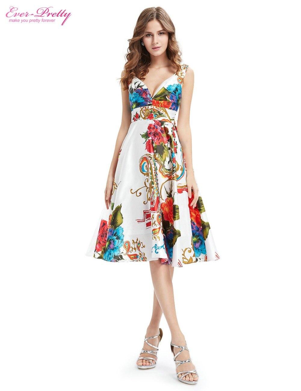Cocktail     Dresses   EP03381 Ever Pretty Hot Sale Double V-neck Empire Line Floral Print Short Satin Women   Cocktail     Dresses   2018