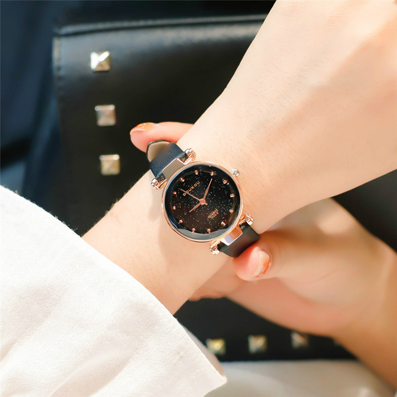Fashion Star Sky Women Watches Classic Black Leather Strap Ladies Watch Luxury Rose Gold Quartz Wristwatch Clock Relogio Feminin hot relogio feminin silicone strap unisex men women quartz analog wrist watch women ladies lovers black white watches wholesale