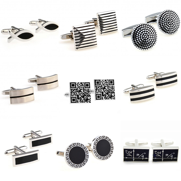 The Most Popular 9 Designs Black Color Enamel Epoxy Cufflink Cuff Link Free Shipping(China)