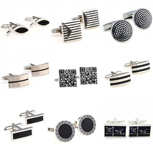 The Most Popular 9 Designs Black Color Enamel Epoxy Cufflink Cuff Link Free Shipping cheap Tie Clips Cufflinks Fashion Cuff Links YH033 Stone Classic Simulated-pearl Stainless Steel Various