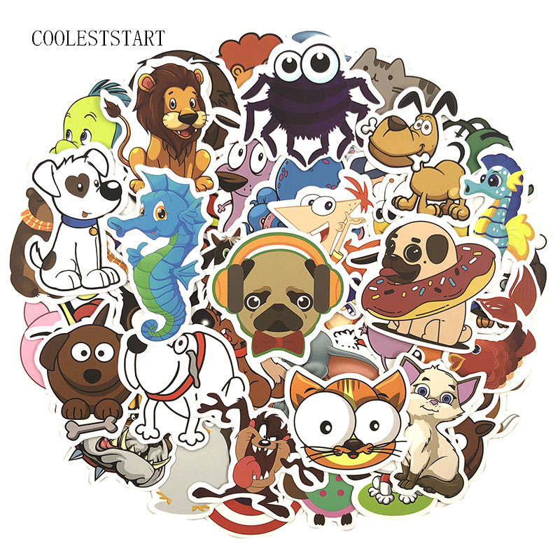 50Pcs/Pack Cartoo Animal Graffiti Stickers Cute Stickers For Luggage Laptop Refrigerator Motorcycle Skateboard