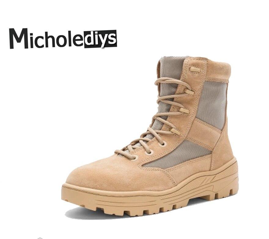 Micholediys Handmade New Arrival Mens Season Military Boots Platform Nubuck Leather Hiking Sneake Kanye West Shoes