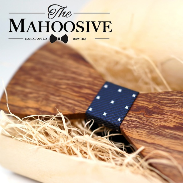 Mahoosive Wood Bow Tie Mens Wooden Bow Ties Gravatas Corbatas Business Butterfly Cravat Party Ties For Men Wood Ties