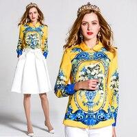 Extrasize da Donna Turn down Collare Manica Lunga Estate Casuale Camicia Camicetta Fashion Top Stampati di Alta Qualità
