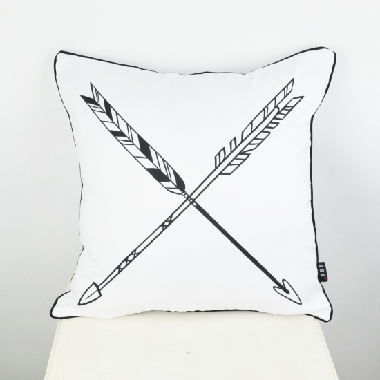 18 * 18  Decorative Throw Pillow Cover Black White Arrow Cushion Cover Pillowcase for Sofa capa de almofada
