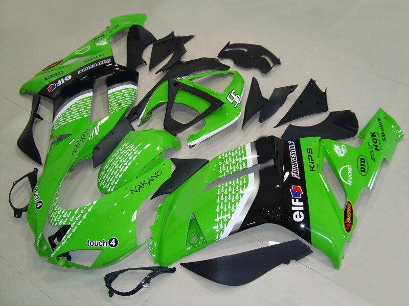 Kit carenagem da motocicleta para kawasaki zx6r preto verde carenagens conjunto 2007 2008 ninja 636 07 08 ano modelo