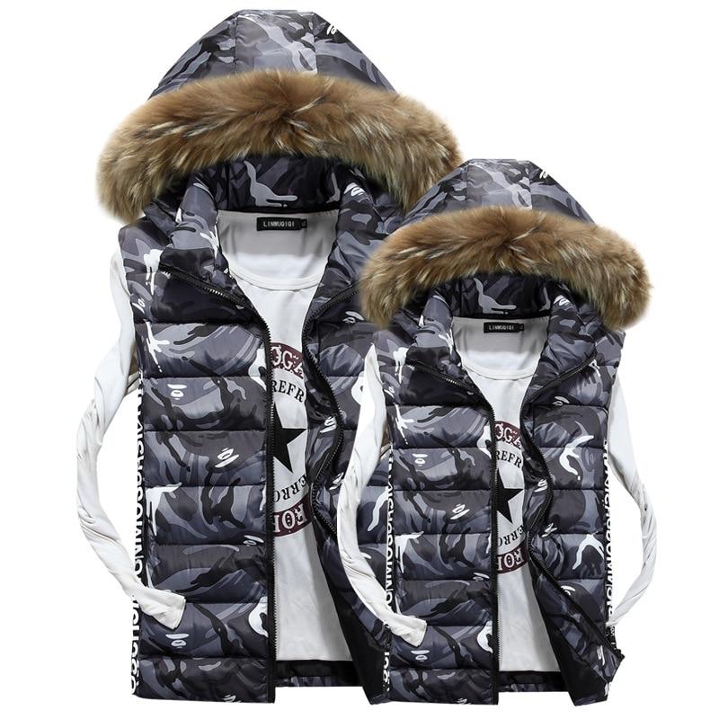 ФОТО Mens Autumn Lothing Fashion Casual Men's Camouflage Vest sleeveless jacket down jacket vest large fur collar winter gilet Men