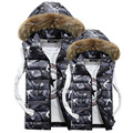 Mens Autumn Lothing Fashion Casual Men's Camouflage Vest sleeveless jacket down jacket vest large fur collar winter gilet Men