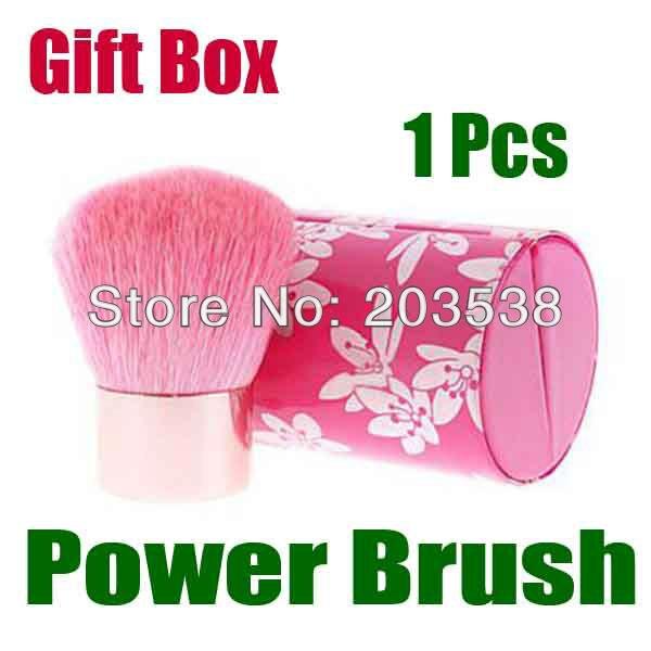 Free Shipping+Drop Shipping New 2013 Fashion Special Pro Mushroom Blush Loose Power Make up Brush+Gift Box Pink Makeup Brush special make 100