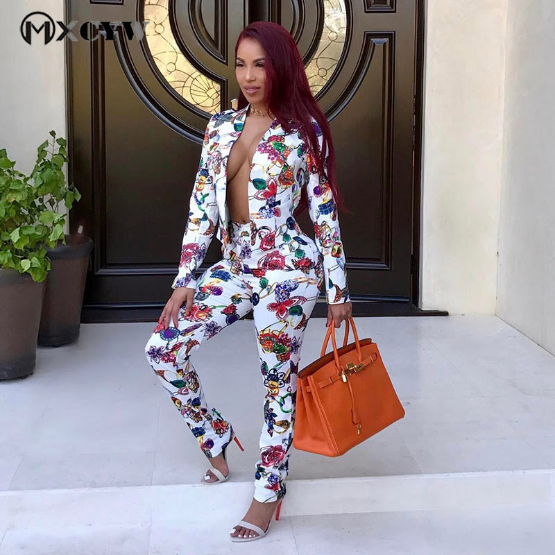 Work Two Piece Set Women 2018 New Autumn Winter Sexy Flowers Print Blazer+ Pants Suit Set Jacket Outfits Office Suits