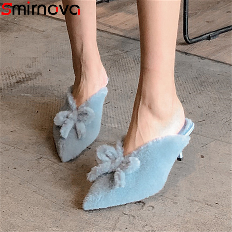 Smirnova Pumps Shoes Mules Pointed-Toe High-Heels Women Ladies Slingback Fur New Shallow