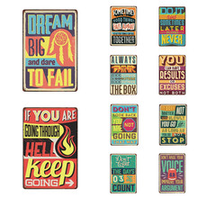 Metal Sign Decor Vintage Slogan Letter Motto Plaques Bar Wall Decoration Tin Home Painting Art Poster 20x30cm