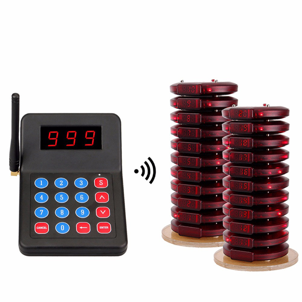 999 Channel Restaurant Pager Wireless Paging Queuing System Table Queue Call Coaster Pagers For Fast Food Cafe Bar Shop F3356A call buzzer transmitter guest coaster pagers customer display wireless queue management system for fast food restaurant