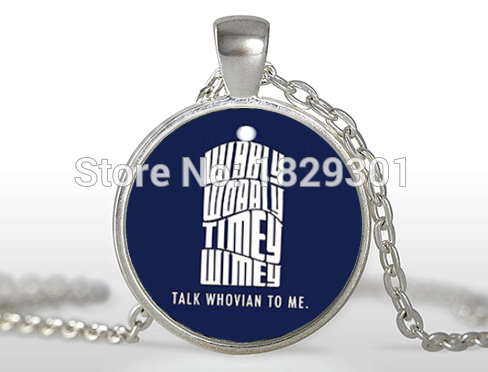 2017 Hot New Vintage Women Collier Collares Maxi Necklaces Doctor Who Speak Whovian Necklace Glass Cabochon Dome Pendant HZ1
