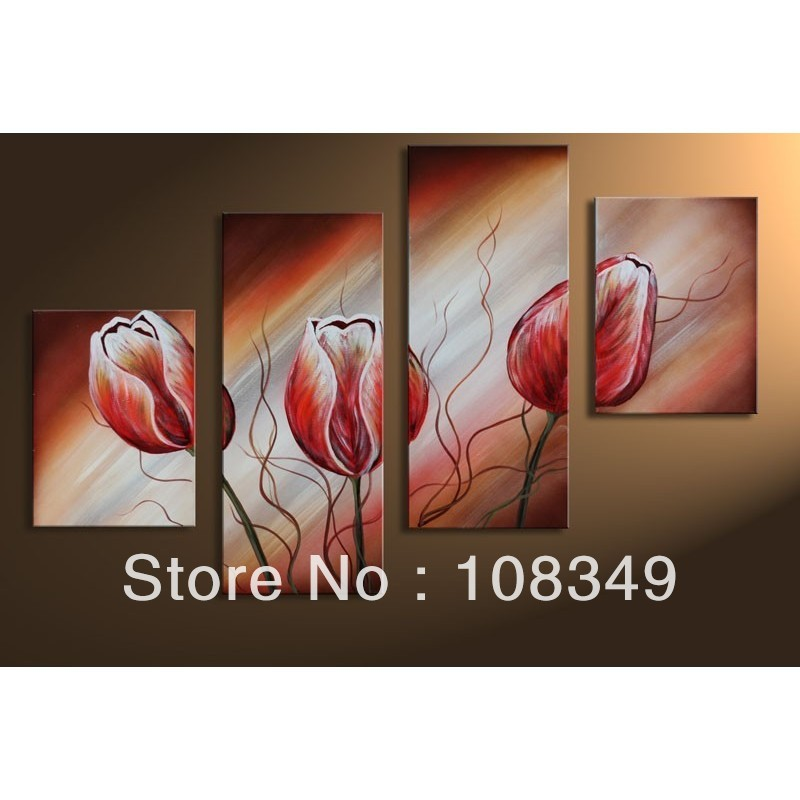 hand painted oil wall art dancing red tulips decoration landscape