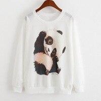 New 2017 Women for sweatshirt Thin style pullover Women casual hoodies China panda protection animals print women hoody hoodies