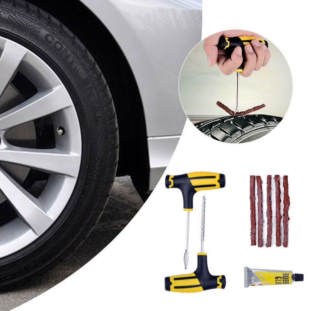 Vehemo Car Tire Repair Tool Kit For Tubeless Emergency Tyre Fast Puncture Plug Repair Block Air Leaking For Car Truck Motobike